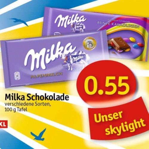 Milka - verschiedene Sorten - 55ct/100g bei Sky (Norddeutschland!)