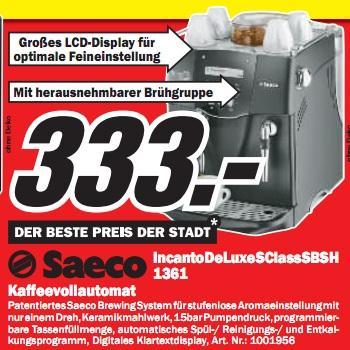 Media Markt Lahr: Saeco Incanto deLuxe für 333€ und Panasonic Lumix DMC-TZ22 (3D, GPS) für 299€ und weitere gute Preise!