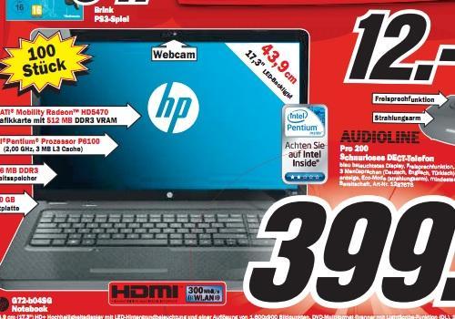 """Media Markt Heilbronn: HP G72 Notebook (17,3"""", P6100, 4GB, 320GB, HD5470, W7HP) für 399€ Sony KDL-40EX402 (40"""" Full-HD, DVB-T/C, USB, 24p) für 377€ und andere gute Ausverkaufs-Preise!"""