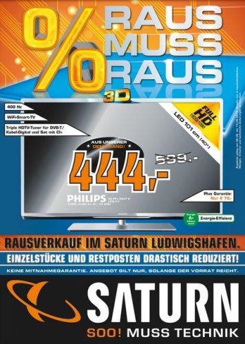 Philips 40PFL5507K/12 40 Zoll 3D LED-Backlight-Fernseher ( FullHD, 400Hz, TrippleTuner, USB Recording, WiFi ) im Saturn Ludwigshafen für 444 Euro