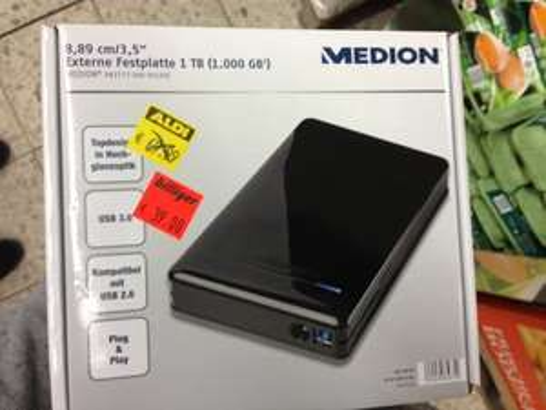 "[lokal?] Medion Externe USB 3.0 Festplatte 1TB 3,5"" 39€ , Aldi Nord Braunschweig"