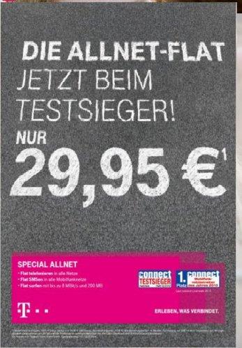 Ab 20.08 bis 31.10 Allnet-Flat für 29,95 Euro bei der Telekom!