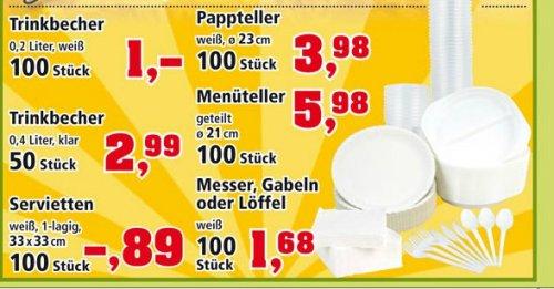 [Offline] Je 100 Pappteller, Trinkbecher, Messer, Gabeln, Löffel, Servietten für Party oder Grillen ab 1,- Euro