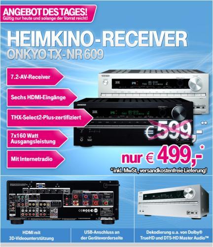 T-Online Tagesangebot - Onkyo TX-NR 609 für 499,-€ Schwarz und Silber