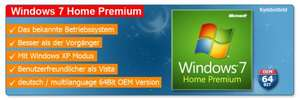 Microsoft Windows 7 Home Premium 64 Bit Deutsch/ML OEM für 58 Euro @Ebay