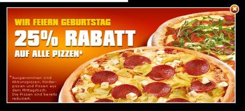 25% Rabatt bei Smiley's Pizza Profis auf Pizzen nur heute!