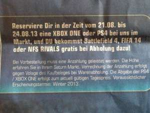 [Köln] Saturn Gamescom Special - PlayStation 4 + 1 Spiel (FIFA 14, BF 4 oder NFS) für 399€