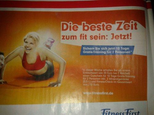 [Lokal Berlin?]10 Tage Fitness First Gutschein ab 20€ Einkaufswert  bei Reichelt.