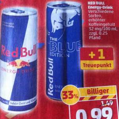 Red Bull verschiedene Sorten 250ml Dosen für 0,99€ beim Penny