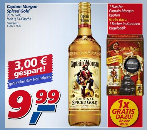[Real, Bundesweit] Captain Morgan (Promo-Pack) inkl. Becher in Kanonenkugeloptik, 9,99€