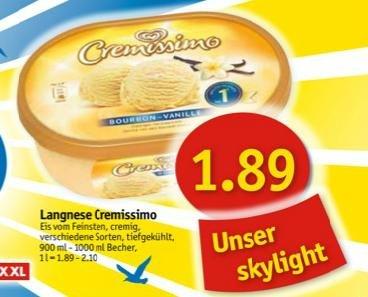 Sky-Markt (SH & MV) | Langnese Cremissimo Eis 900ml-1000ml für 1,89€ [vom 19.-24.8]