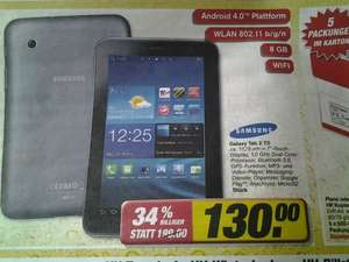 [toom HH] Samsung Galaxy Tab 2 7.0 Wifi 8GB 130,-