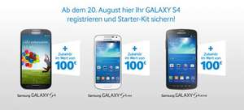 Kostenlos Samsung Zubehör im Wert bis 36€ ( laut Samsung bis 100€) beim Kauf (oder Vertragsverlängerung) von 19.08.2013 bis 01.09.2013  eines Samsung Galaxy S4, oder S4 mini, oder S4 ACTIVE