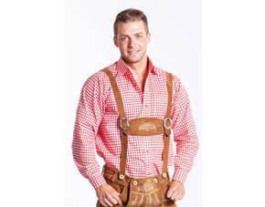 Klassisches Trachtenhemd für Herren, rot/weiss kariert für 18,50 €  @ MeinPaket.de