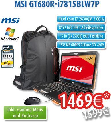 neustes Gamer Notebook MSI GT680R-i7815BLW7P mit 130 € Ersparnis + Rucksack + Mouse + Spiel