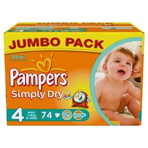 Pampers Simply Dry Jumbo Box Gr. 4 & 5 -- ab 0,12 € pro Stk @ amazon