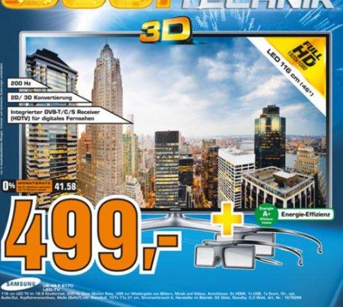 Samsung UE46F6170 für 499€;  UE55F6170 für 749€