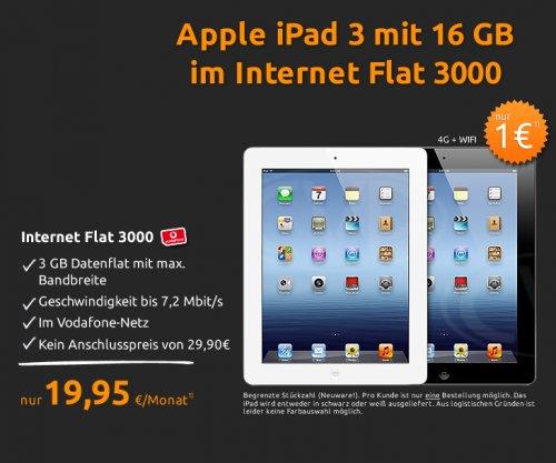 CRASH-TARIF: Vodafone Internet 3GB + Ipad 3 (Wifi + 4G) für 19,95€ mtl.