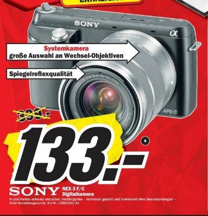 Sony NEX F3 + 18-55mm als Vorführgeräte in schwarz und silber mit voller Herstellergarantie im Mediamarkt Mainz und Bischofsheim für 133 Euro