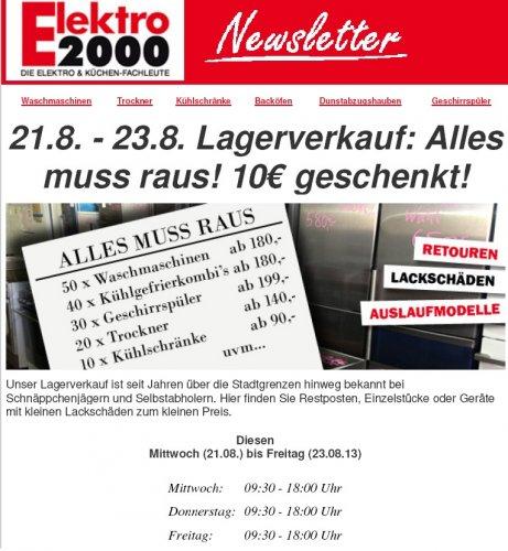 [Elektro2000] Lokal Oldenburg - Lagerverkauf Elektro-Großgeräte