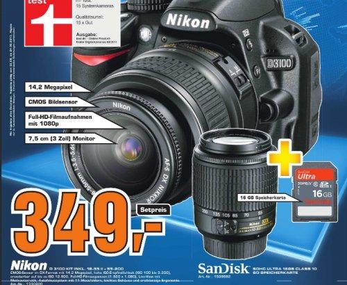 [Saturn Fürth + Nürnberg]  Nikon D3100 Kit 18-55 mm + 55-200 mm + 16GB Speicherkarte 349€
