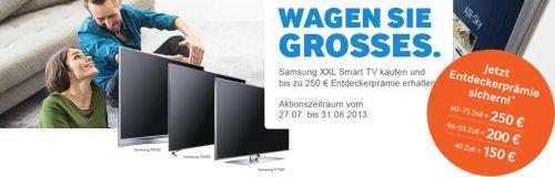 Samsung XXL Wochen. Große Glotze kaufen und bis zu 250€ kassieren