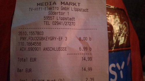 [Lokal] Mediamarkt Lippstadt - PNY Attache 32GB USB-Stick nur 8€!