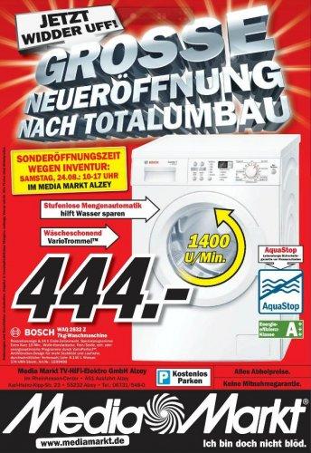 Neueröffnungsangebot bei Media Markt (Lokal: Alzey): Bosch Waschmaschine für nur 444 €!