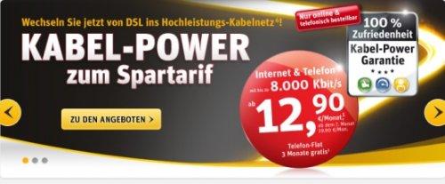 Cashback 100 Euro + 30 Euro Onlinebonus bei Kabel Deutschland