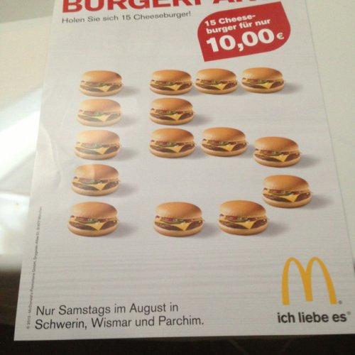 [lokal PCH/HWI/SN] McDonalds 15 Cheeseburger für 10€ (nur samstags im August)