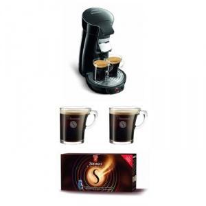 Philips HD 7825 / 69 Senseo Kaffeepadmaschine schwarz mit Senseo Pack mit Tradoria Gutschein