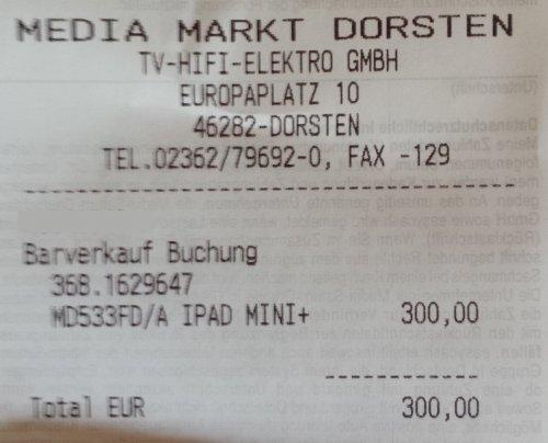 (Lokal MM Dorsten)  IPad Mini Wifi 64 GB für 300 Euro
