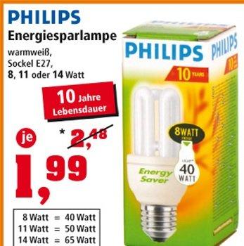 Thomas Philipps Sonderposten: Philips Energiesparlampen für 1,99 Euro