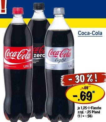 [LIDL] Cola für 0,69€ zzgl 0,25€ Pfand/1,25L, 1L=0,56€