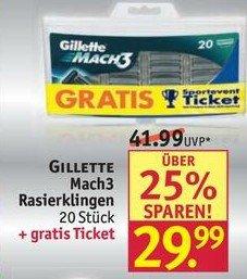 Rossmann: Gilette Mach3 Rasierklingen, 20er Pack, 29.99 € (lokal 26,99€)