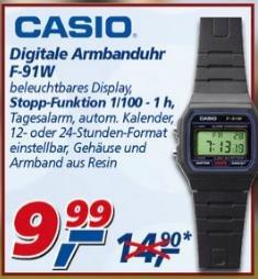 Der Klassiker Casio F-91W Retro Uhr für 9,99 € @ Real (Offline) ab 26.08.13 im Angebot!