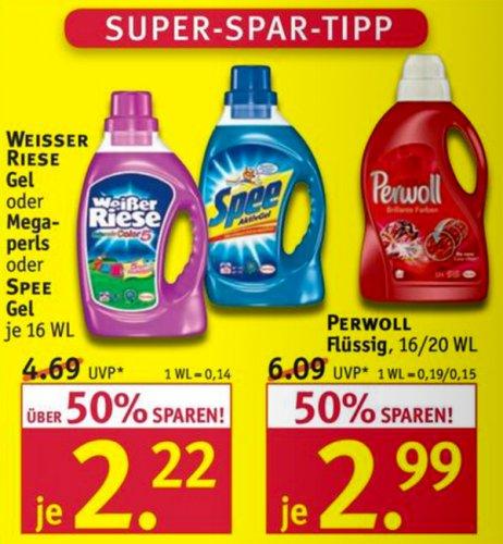 Rossmann: Waschmittel Weißer Riese/Spee für 1,22 €uro / Perwoll für 1,99 €uro