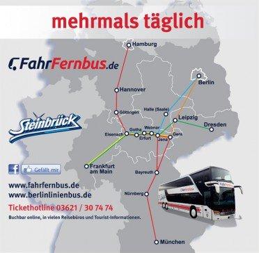 30 € FahrFernbus.de-Gutschein für 15 € (Busticket für eine einfache Fahrt von Eisenach, Gotha, Erfurt, Weimar oder Jena nach Dresden bzw. Frankfurt/Main, oder zurück.)