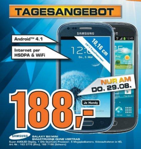 Samsung Galaxy S3 Mini am 29.8 im Mediamarkt Berlin Köpenick für 188 Euro