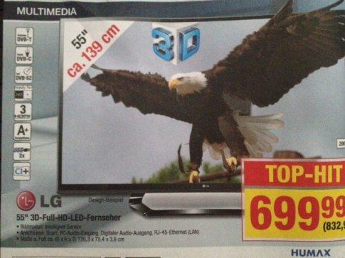 "[Metro] LG 55"" Zoll 200Hz 3D FullHD LED TV mit Triple Tuner"