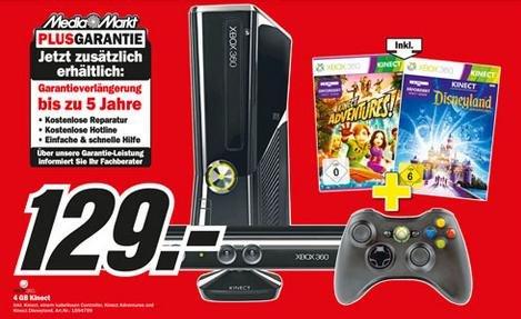 [MM GOSLAR] XBOX 360 4GB inkl. KINECT+KINECT ADVENTURE+Disneyland Kinect+ Controller für nur 129€!!