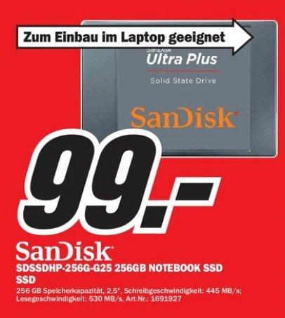 """256 GB Sandisk Ultra Plus SSD Notebook 2.5 """" im Mediamarkt Zwickau für 99 Euro"""
