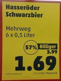 Hasseröder Schwarzbier 6 × 0,5l bei Penny