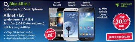 o2 Blue All-in L Allnet-Flat mit 2GB LTE Volumen für 31€ / Monat inkl Smartphone
