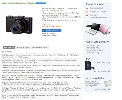 Sony CyberShot DSC-RX100MII für 599,20 EUR