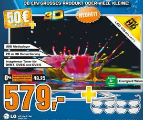 [Lokal Stuttgart] Saturn LG 47LA6136 + 4x 3D Brillen + 50€ Saturn Gutschein für 579 €