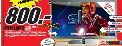 Media Markt Offenburg: Philips 46PFL7605H Demo-Geräte (LED/Ambilight/LAN/Wifi-fähig) für 800€ und weitere Restposten und Einzelstücke