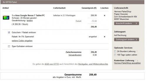 [Für Otto Card Inhaber mit 5% Sparvorteil]  Google Nexus 7 (2013) Tablet 32GB für 256,49€