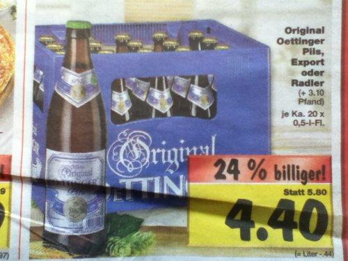 [Kaufland bundesweit] Oettinger Pils/Export/Radler ab 02.09. für 4,40€