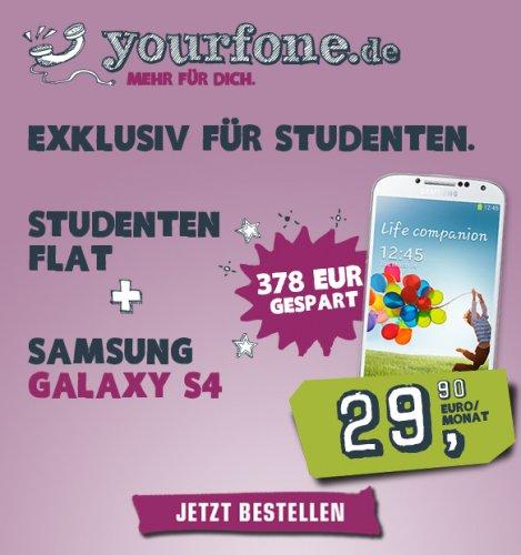 Allnet-SMS Flat, Allnet-Telefonie-Flat, 500MB Internet Flat + Samsung Galaxy S4 nur 29,99€ pro Monat - NUR FÜR STUDENTEN!